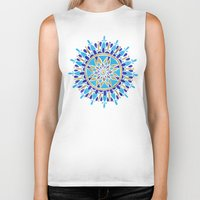 royal Biker Tanks featuring Royal Blue Mandala by Cat Coquillette