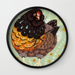 Golden Chicken Wall Clock