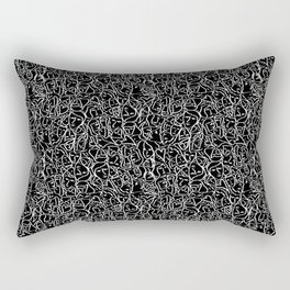 Elios Shirt Faces with Valentine Hearts in White Outlines on Black Rectangular Pillow