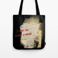 dramatical murder Tote Bags featuring Murder Board by Sybille Sterk