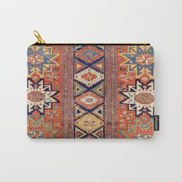 Southwestern Farmhouse III // 19th Century Colorful Red Yellow Blue Green Aztec Farm Stars Pattern Carry-All Pouch