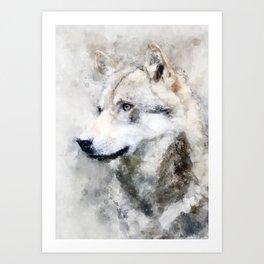 Watercolour grey wolf portrait Art Print