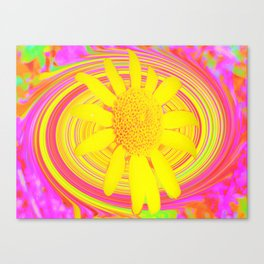 Yellow Sunflower on a Fuchsia Psychedelic Swirl Canvas Print