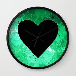 Elegant watercolor splash heart Wall Clock