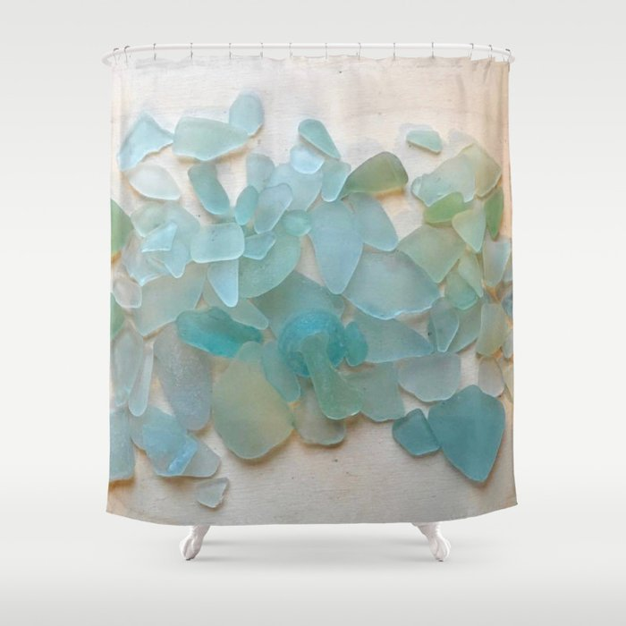 Ocean Hue Sea Glass Shower Curtain