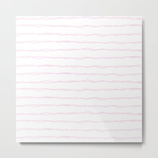 Simply Wavy Lines in Desert Rose Pink Metal Print