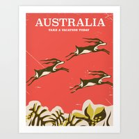 travel poster Art Prints featuring Australia vintage travel poster by Nick's Emporium
