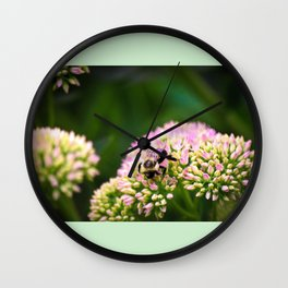Bumble bee green Wall Clock