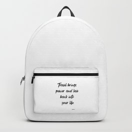 Travel Brings Power and Love Back int your Life, Inspirational, Motivational, Travel Quote by Rumi Backpack