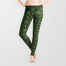 Art Deco Floral Tiles in Emerald Green and Faux Gold Leggings