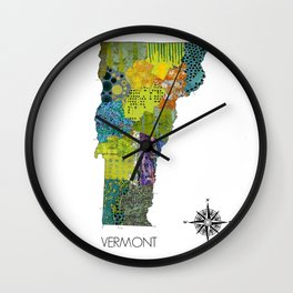 Map of VT Art Collage Wall Clock