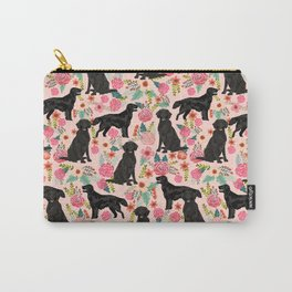 Flat Coated Retriever dog breed pet art dog floral pattern gifts for dog lover pet friendly Carry-All Pouch