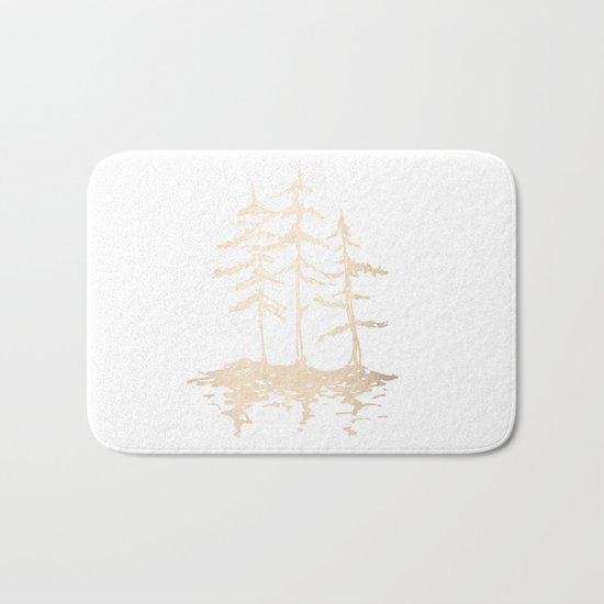 Three Sisters Forest White Gold Trees Bath Mat