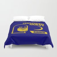will ferrell Duvet Covers featuring funny condom by Buby87