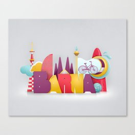 Barcelona ilustrada Canvas Print