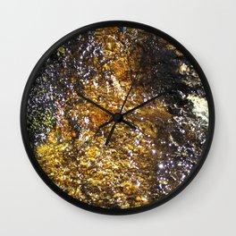 Water On Dark Stone Wall Clock
