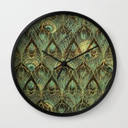 Art Deco Peacock Feathers In Emerald Wall Clock