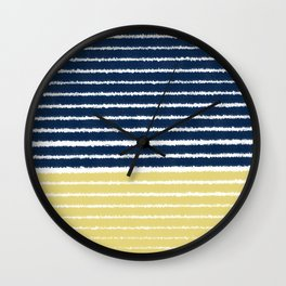 Gold and Navy Blue brush Strokes Wall Clock