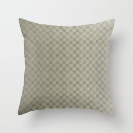 Olive Green Gingham Square Checker Board Pattern Throw Pillow