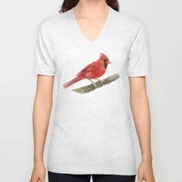 Red Cardinal Watercolor Unisex V-Neck