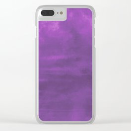 Burst of Color Purple Abstract Sponge Art Blend Texture Clear iPhone Case