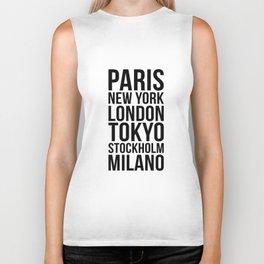 PARIS NEW YORK LONDON TOKYO STOCKHOLM MILANO Quote Biker Tank