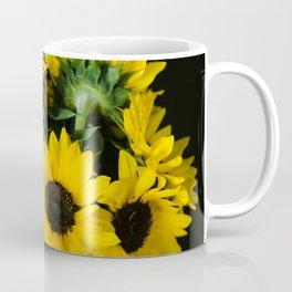 Yellow Sunflowers on Black Coffee Mug