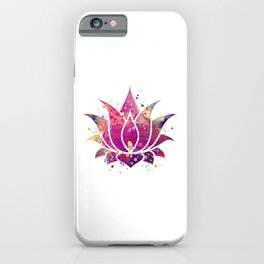 Lotus Flower Art Colorful Purple Watercolor Gift Bean of India Lotus Blossom Flowers Art Gift iPhone Case