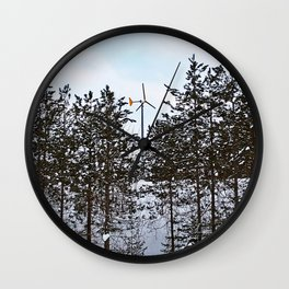 Windmill Through the Trees Wall Clock