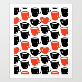 Quirky cool coffee cups pattern Art Print