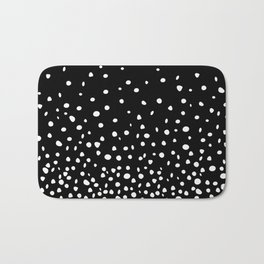 White Polka Dot Rain on Black Bath Mat