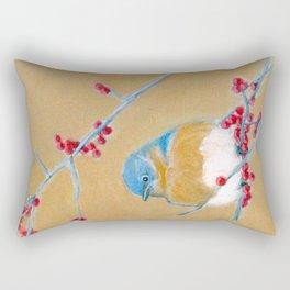Bluebird on Branch Rectangular Pillow