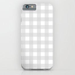White & Light Gray Gingham Pattern iPhone Case