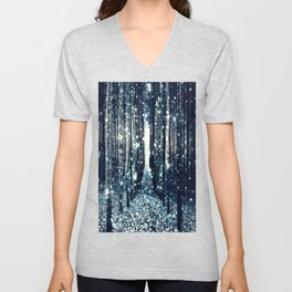Magical Forest Teal Gray Elegance Unisex V-Neck