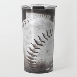 Softball on the Bench in Sepia Travel Mug