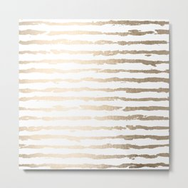 Simply Brushed Lines White Gold Sands on White Metal Print