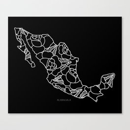 Mexico Map White Outline Canvas Print