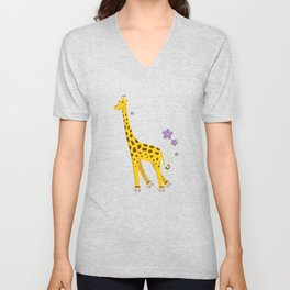 Yellow Funny Roller Skating Giraffe Unisex V-Neck