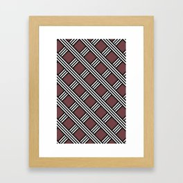 Pantone Red Pear, Black & White Diagonal Stripes Lattice Pattern Framed Art Print