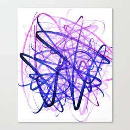 Violet Chaos Expressive Lines Abstract Canvas Print