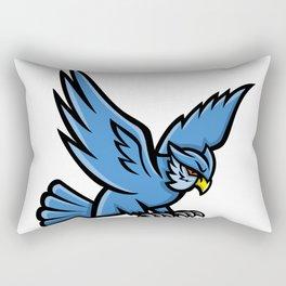 Horned Owl Swooping Mascot Rectangular Pillow