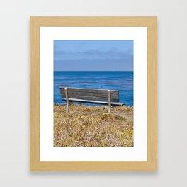 Bench Overlooking the Pacific Ocean Framed Art Print