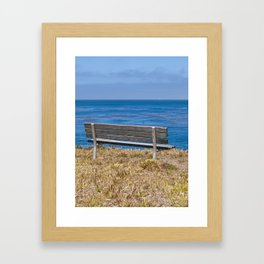 Bench Overlooking the Pacific Ocean Framed Art Print