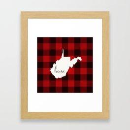 West Virginia is Home - Buffalo Check Plaid Framed Art Print