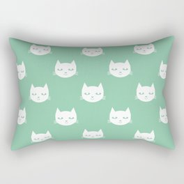 Cat minimal illustration pet cats head drawing digital pattern mint and white nursery art Rectangular Pillow
