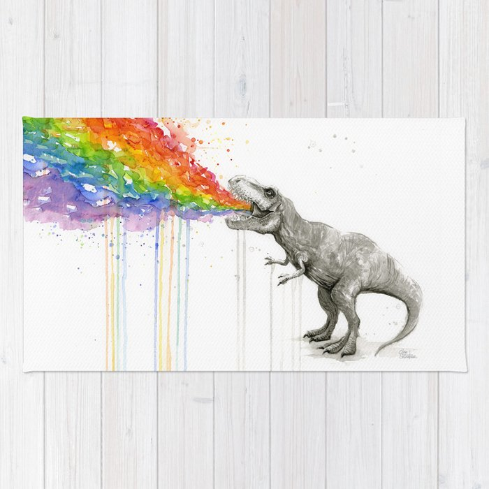 T-Rex Dinosaur Rainbow Puke Taste the Rainbow Watercolor Rug