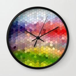 Rainbow mosaic tile abstract Wall Clock