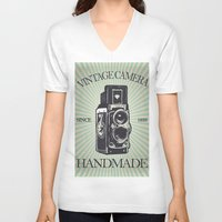 vintage camera V-neck T-shirts featuring Camera Vintage by Ale Ibanez