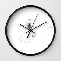 anxiety Wall Clocks featuring Anxiety by  Louie