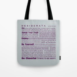 Desiderata - Plum and Grey Tote Bag